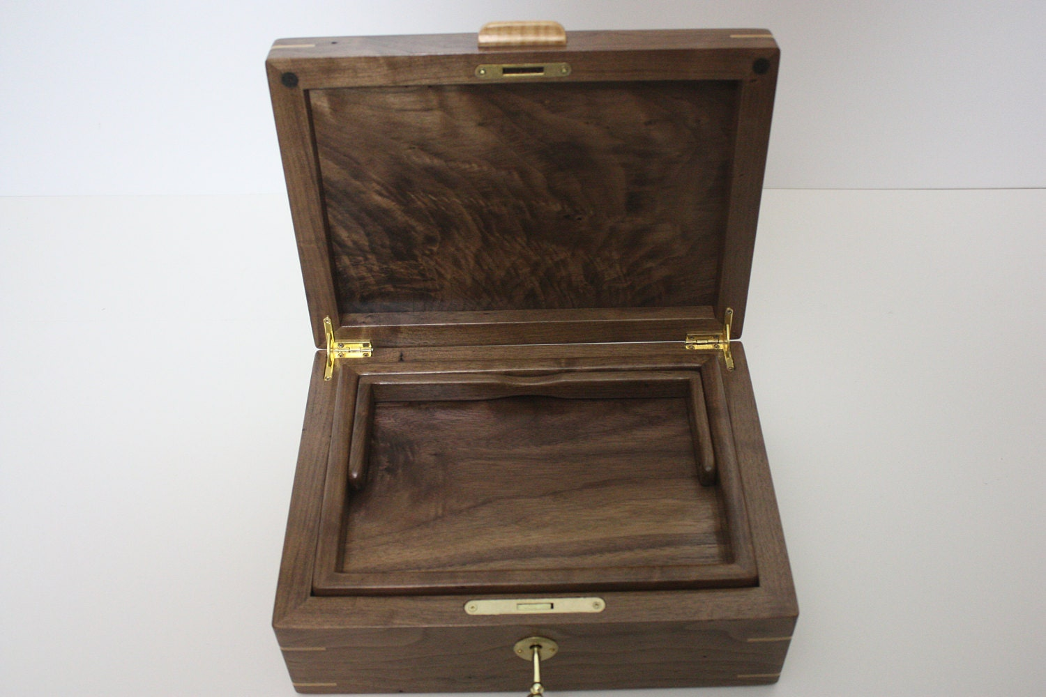 Black Walnut Locking Box with Lift out Tray