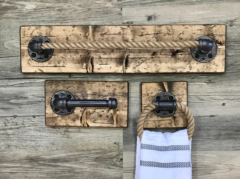 rustic bathroom set of 3 toilet paper holder big towel bar