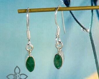 Emerald Earring, Emerald Plain Earring, Green Emerald Earring, Simple Earring, 925 Silver Earring, Small Earring, Dailywear Earring, Earring
