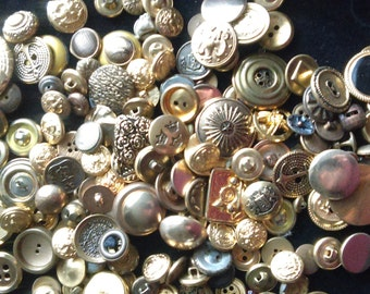 Vintage Gold Button Mix / Huge Button Lot / 160 Plus Buttons / Shank and Sewing Buttons / Button Assortment / Vintage Craft Supplies