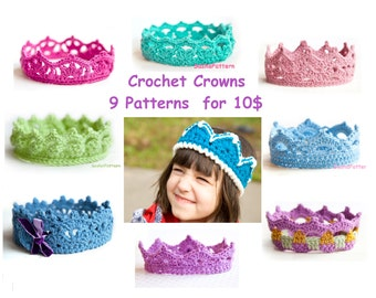 9 Crochet crowns pattern - Black Friday deal - promo price