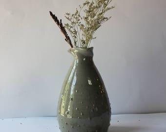 Gray Teardrop Textured Vase