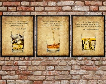 Whiskey Prints - Discounted Set of 3 - Bar Art - Whiskey Posters - Bourbon Scotch - Man Cave Fathers Day#vi258