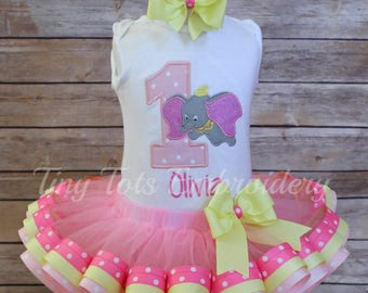 DUMBO Birthday Outfit ~ Dumbo Tutu Outfit ~ Includes Top, Ribbon Tutu & Hair Bow ~ Can be customized in any colors of your choice!