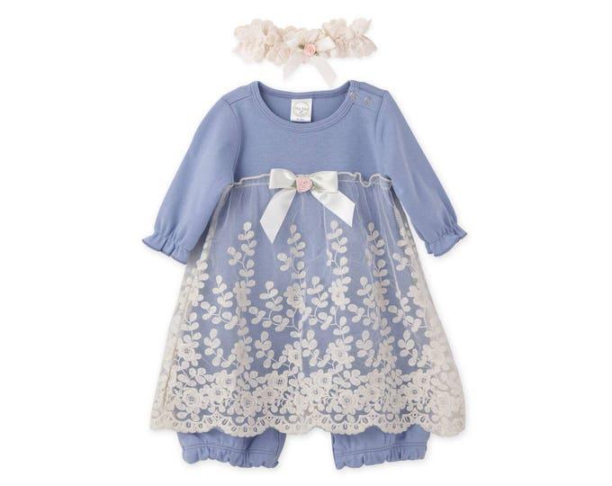 Baby Girl Lace Dress, Newborn Girl Outfit, Baby Girl Skirted Romper Blue Lace, Baby Girl Blue Romper Headband TesaBabe RH54LLBIY0000