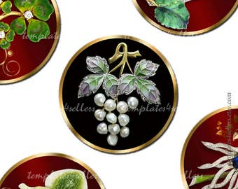 Digital Collage Sheet 1 inch Round images Jewelry Flowers Grape original  Printable 4x6 inch sheet 362