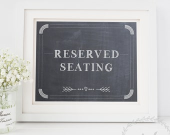 Reserved Seating Wedding Sign, Faux Chalkboard Reserved Wedding Signage, Printable Reserved for Family Sign Template INSTANT DOWNLOAD