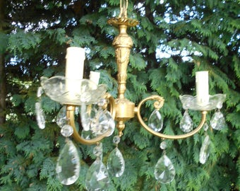 Vintage French Chandelier with Crystal Droplets
