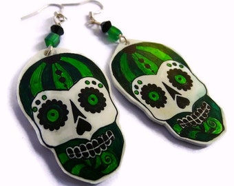 Sugar Skull Drop Earrings,Sterling Silver Fish Hooks,Sterling Silver Earwire,Hand Crafted,Day Of The Dead Earrings, Good For A Gift Or You!1