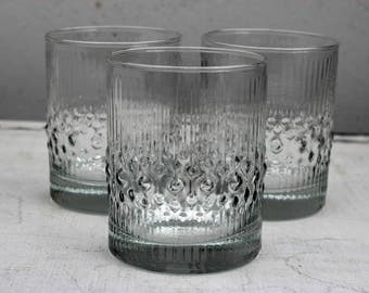 Set of Six Durobor 'Alaska' Textured Clear Glass Tumblers