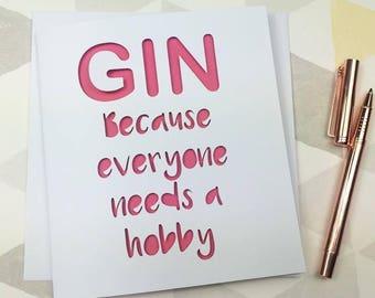 Gin card, birthday card, funny birthday card, gin gift, mum birthday, funny card, card for her, card for friend, best friend, gin friend,