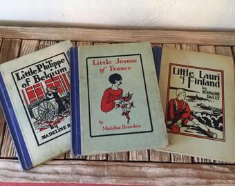 Vintage Set of Books By Madeline Brandeis Bernadine Bailey Little Philippe of Belgium Little Lauri of Finland Little Jeanne of France