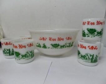 Hazel Atlas Milk Glass Christmas Punch Bowl Set EGGNOG Carriage Scene Set of 7