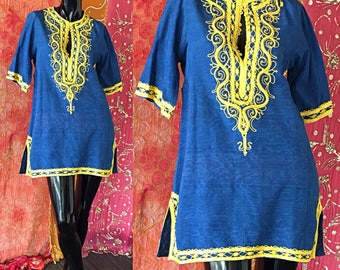 Indian Tunic Embroidered Tunic Moroccan Tunic Vintage 70s Tunic