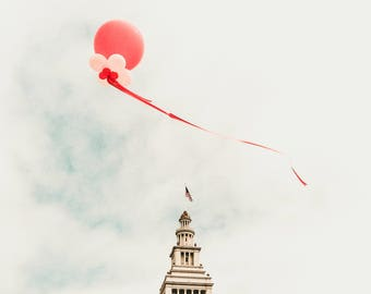 """San Francisco, California Travel Photography, """"Red Balloon at the Ferry Building"""" Gallery Wall Art Prints, Home Decor"""