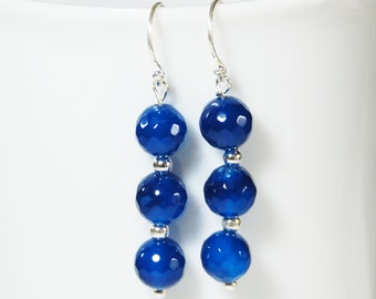 Blue Agate stylish semi precious gemstone earrings on sterling silver