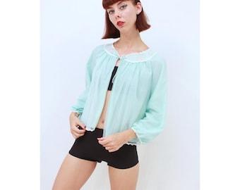 Vintage - 1960's - Retro - DREAMY - Dolly - Lolita - Pale - Aqua - Bri Nylon - Bed - Jacket - AUS 8 - XS - Brand New With Original Tags