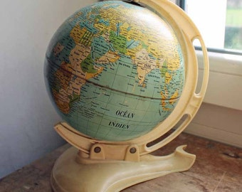 Vintage West Germaney world globe / Mid century globe atlas/map by MS Chamois / 1950's desk stand globe
