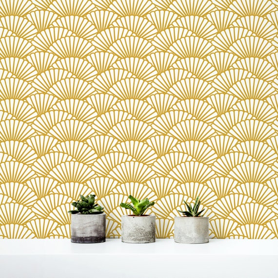 Solid gold wallpaper scallop removable wallpaper for Gold self adhesive wallpaper