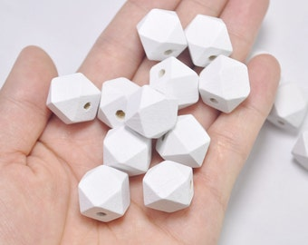 20pcs White Geometric Wood Beads,Hand Painted Spaced wood Beads 15mm,Polygonal,DIY Geometric necklace/ keyring,Make jewellery for selling