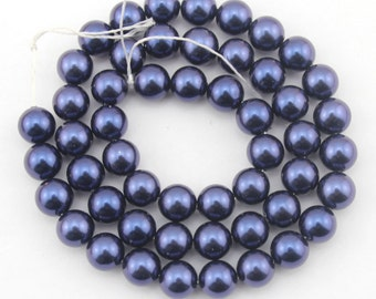 8mm High Luster Round Shell Pearl Beads, Charming Blue shell PeBeads,Shell Pearl Beads,One Full Strand,-48pcs-15.5 inches-SH36