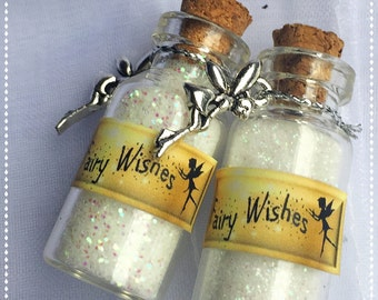 Fairy Wishes in white  with charm - party favour - Discount available on bulk orders