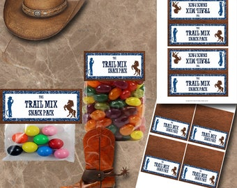 Cowboy Treat Bag Toppers Instant Download Printable Treat Bag Toppers