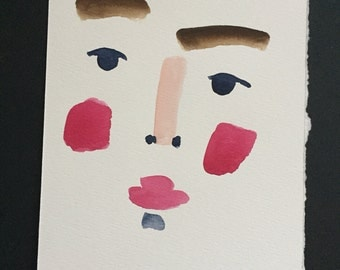 Minimal abstract watercolor portrait