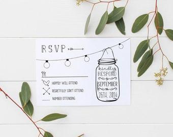 ANNABELLE: Editable Wedding RSVP - Rustic Mason Jar Lights - Response Card - Instant Download Editable File - Invitation