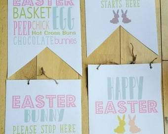 Personalised Easter Canvas Fabric Flags