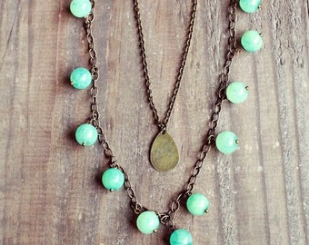 JASMINE Chalcedony and teardrop 2 layer necklace