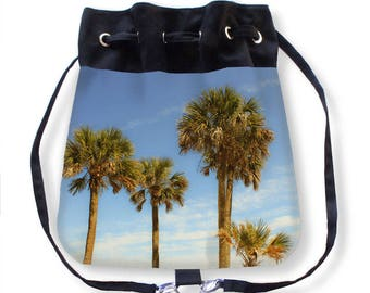 Palm Tree Cinch Bag-Beach Tote Bag-Adjustable Straps Shoulder Bag-Canvas Reusable Tote-Palm Tree Tote-Beach Bag-Boat Bag-Tropical Tote Bag