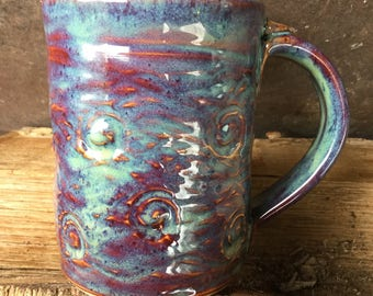 12 Ounce - Starry Night - Swirls and Waves Mug -  Hand Stamped and Carved - Wheel Thrown Pottery