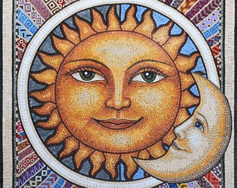 Mosaic Wall Art - Mexican Sun and Moon