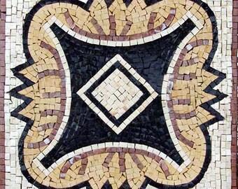 Black & White Tile Art - Diamond Lotus
