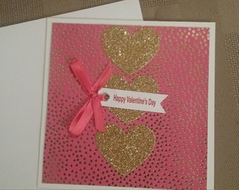 Pink/Gold Valentine Card