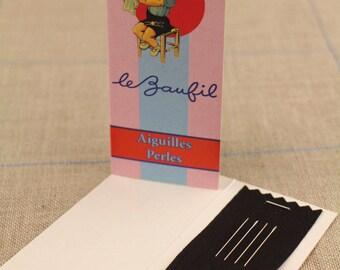 Four Bead needles size 10 Lebaufil booklet blue stripe