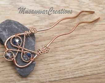 Hair fork, wire wrapped copper hair fork ,hair bun, chignon bun pin-hair accessory, copper wire pin-