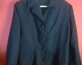 Vintage 50s JAcket Blue VINTAGE 1950s1960s Blazer Blue Womens Jacket Button Up Wool JAcket Size S