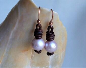 Pearl Leather Earrings Pink Pearls Holiday Sale White Freshwater Pearls Cord Dangling Earrings Boho Bohemian Yevga