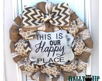 Wreath Decor , Our Happy Place Burlap Wreath, Gray Chevron Wreath, Wreath, Burlap Wreath, Year Round Wreath,  Burlap Decor,
