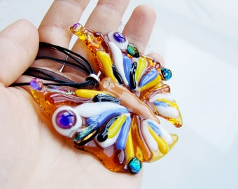 Necklace Butterfly. Necklace Fused Glass Pendant. Glass Butterfly Pendant. Amber color butterfly. Butterfly multicolored. Jewelry butterfly
