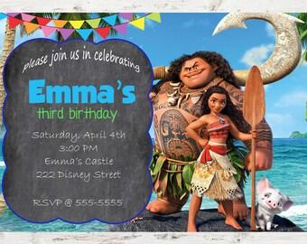 Moana Birthday Invitation Printable - Moana Birthday Invitation Theme - Moana Invitation for Girls and Boys - Moana Celebration