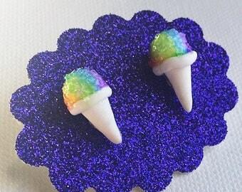 Snow Cone Earrings Rainbow Snow Cone Polymer Clay Earrings Stud Earrings
