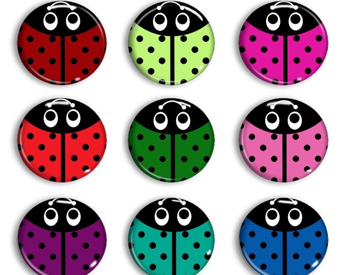Lady Bug Magnets - Tic tac toe board game -Party Favors - Refridgerator Magnets - Unique Gifts - Cubicle Decor - Bulletin Board Magnets -