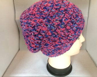 Chunky crochet beanie, pink and blue,  slouchy beanie, hand crochet, winter hat, 10 inches long, 22 inches round, autumn beanie