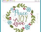 60% OFF Wreath clipart, Christmas clipart, winter clipart, peace clipart, joy clipart, Instant download