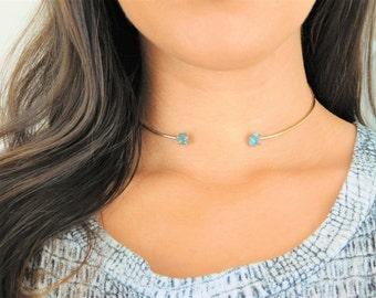 Raw Apatite Choker, Rough Apatite Necklace, Raw Gemstone Choker, Rough Gemstone Necklace, Crystal Collar Choker, Gold Crystal Choker