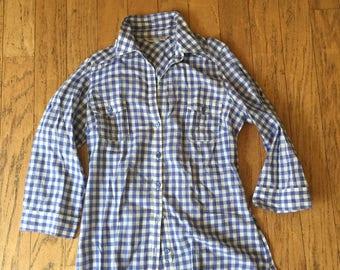 SALE - Gingham Blue & White Shirt