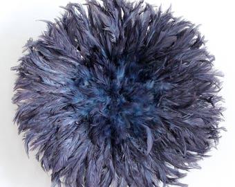 Juju Hat - Feather Headdress - Purple & Blue - 50 cm/19.5 inches